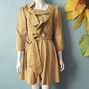 Ryu gold ruffled dress coat size S